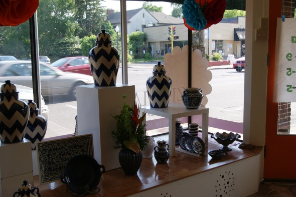 Mexican Chevron urns with lids