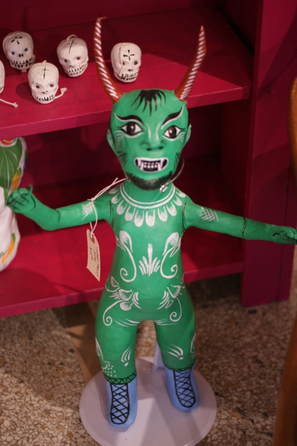 Paper Mache devil figures from Mexico