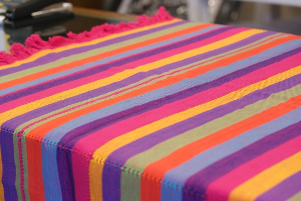 Woven cotton tablecloth from Michoacan