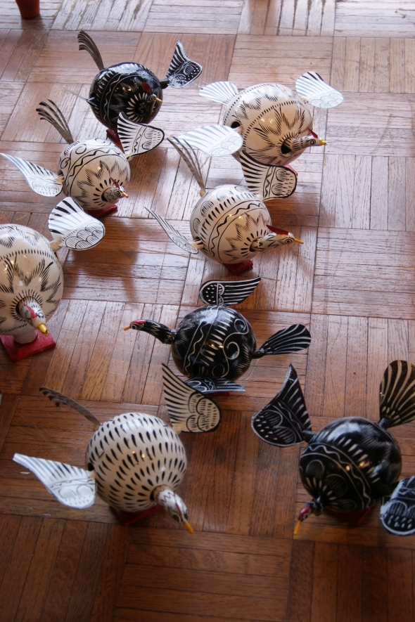 chickens made of gourds