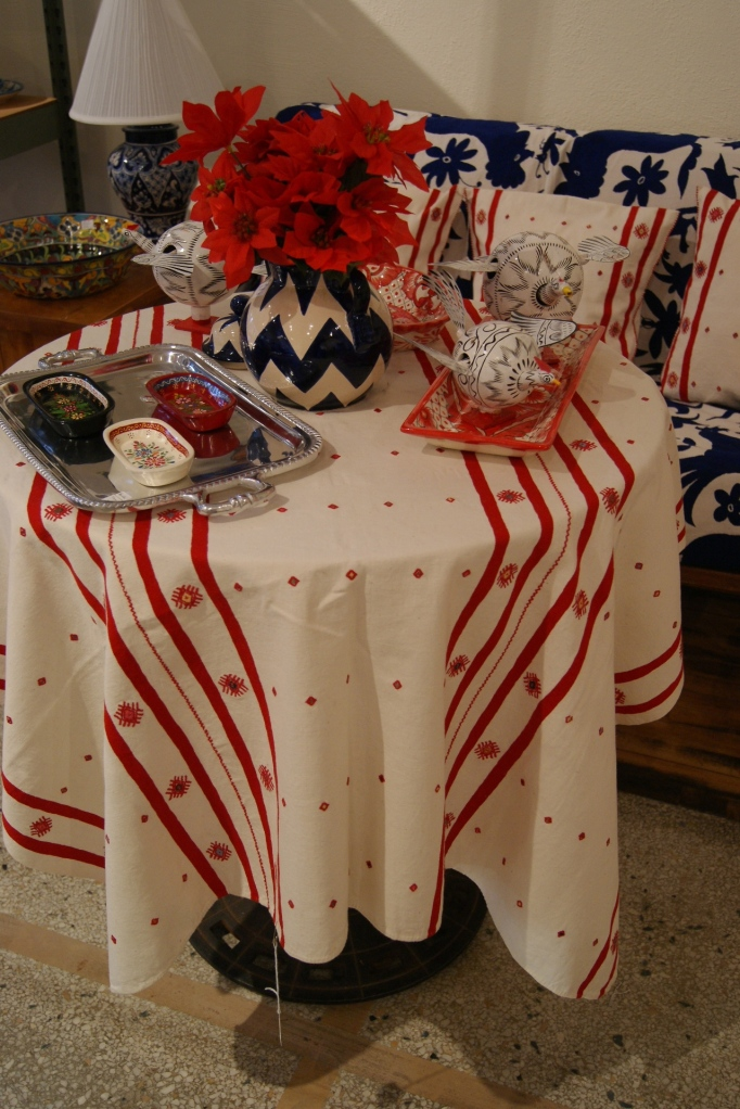 White with Red Tablecloth for the Holidays, Textiles from Mexico