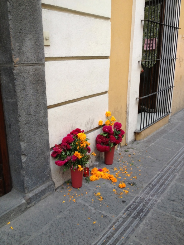 Dia de los Muertos flowers in Puebla