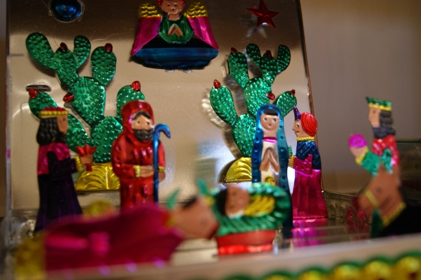 Tin Mexican Folk Art Nativity in a Box