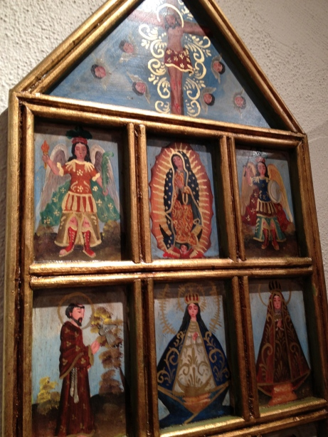 Wooden Retablo with Guadalupe & Saints, Mexico
