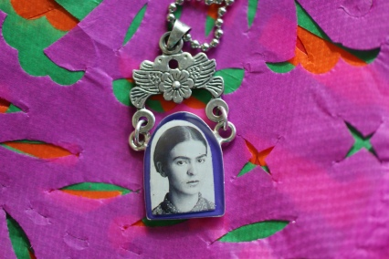 Mexican folk art Alpaca Necklace with Frida Kahlo