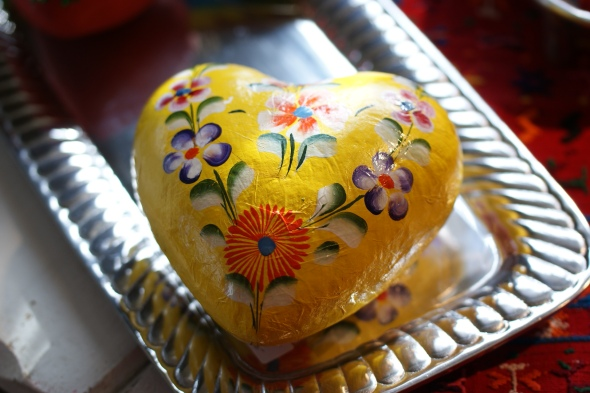Michoacan Paper Mache Heart with Flowers