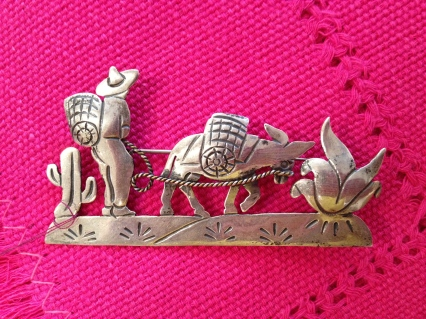 Silver jewelry from Mexico, silver Mexican brooch