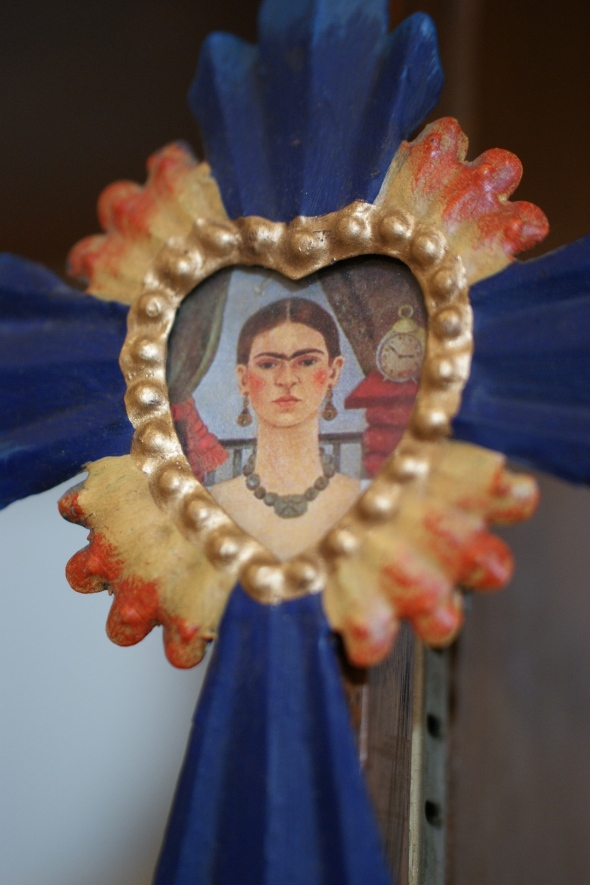 Tin Cross with Frida Kahlo