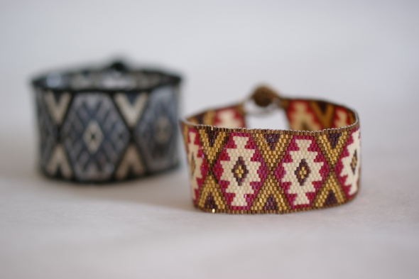 Beaded Huichol Bracelets, Zinnia Folk Arts