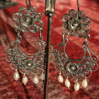 Mexican Silver Earrings, Mazahua