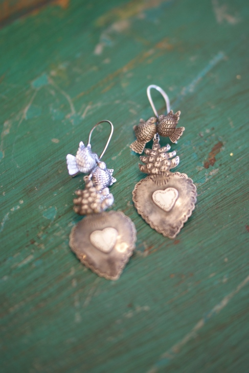Silver jewelry, Sterling silver earrings from Mexico, Sacred Heart