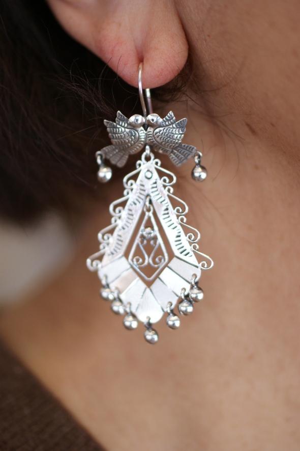 6680b3407 Mazahua Sterling Silver Earrings, Mexico